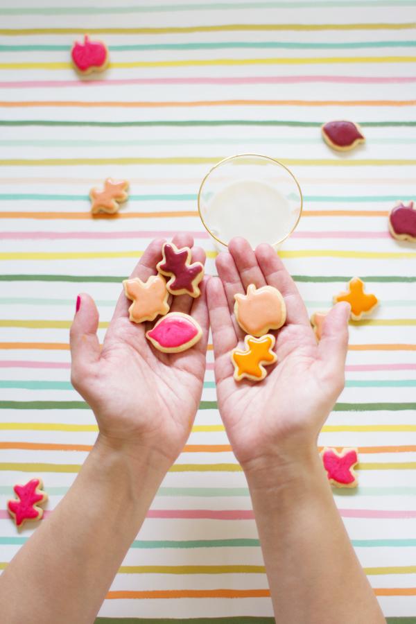 Mini Colorful Leaf Cookies