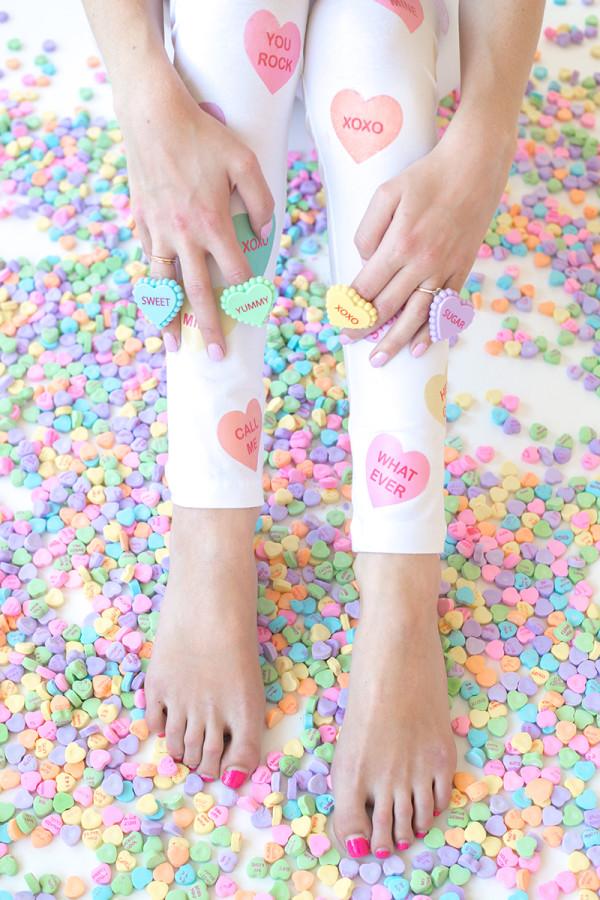 DIY Conversation Heart Leggings